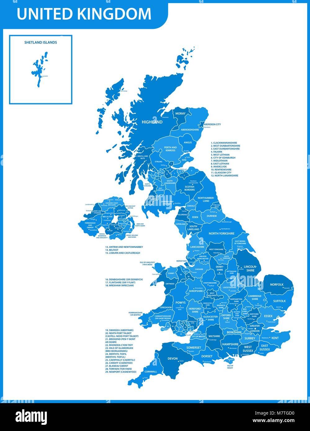 Carte De La Grande Bretagne Avec Les Comt Ef Bf Bds Les Villes