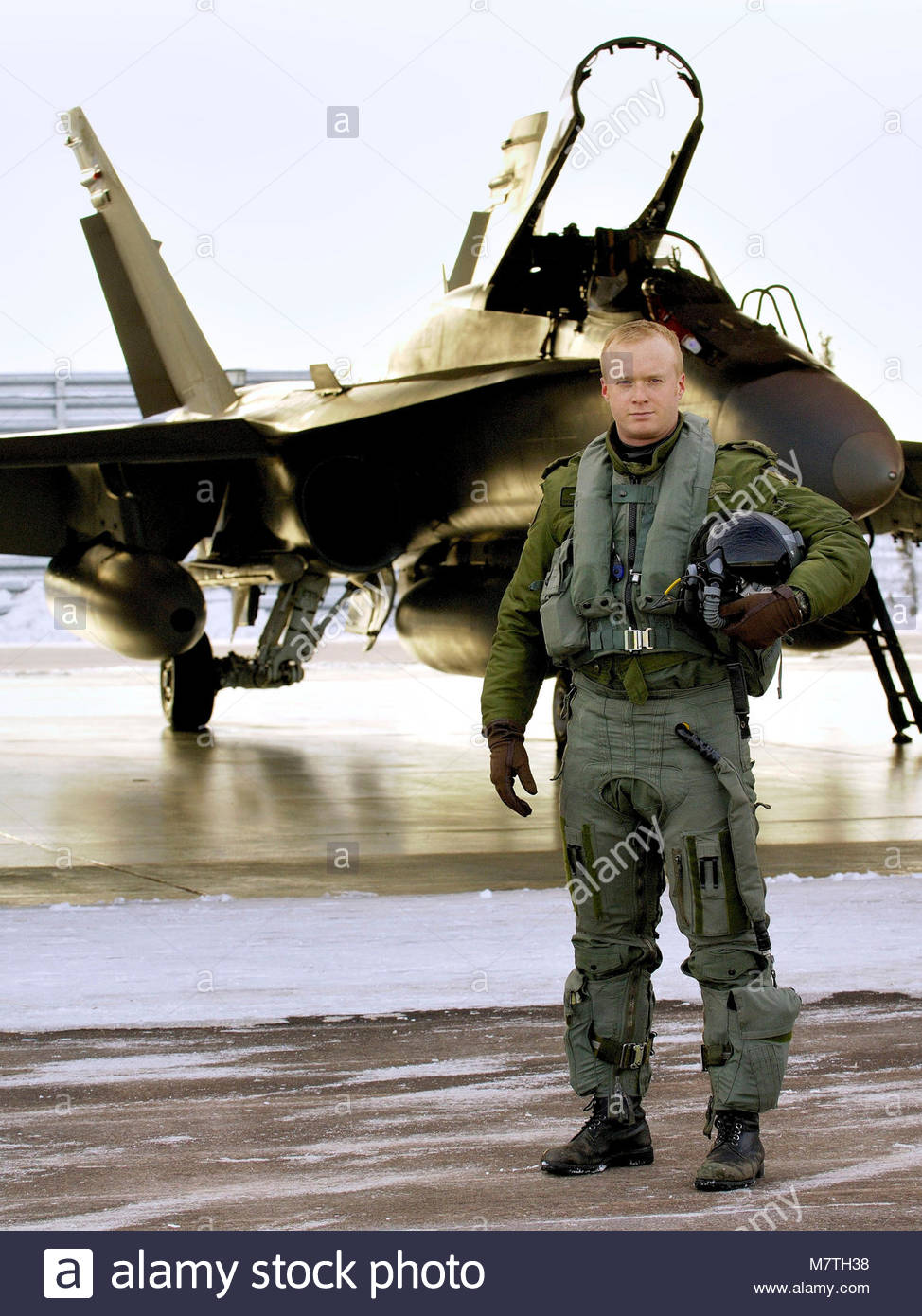 Le Capitaine Yuri Mokievsky-Zubok. Le pilote d'un CF-18 Hornet, le Capitaine Yuri ''EDLO Mokievsky-Zubok'' Photo Stock