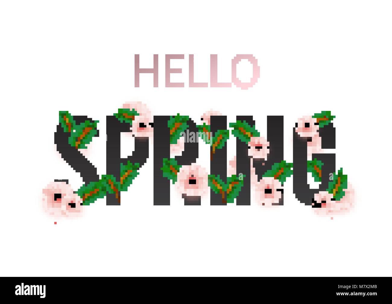 Bonjour Printemps, fleurs, cartes florales. Bannière avec fleurs réalistes. Vector illustration Illustration de Vecteur