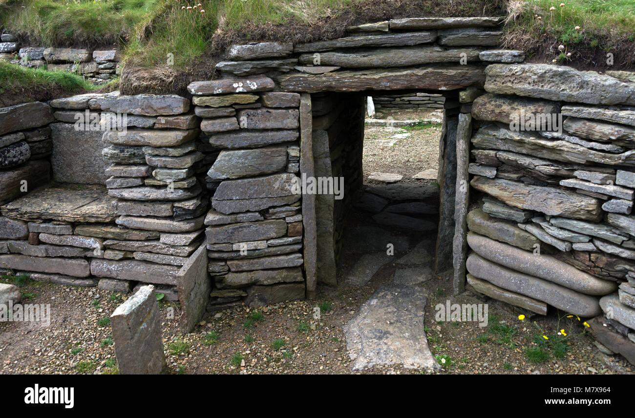 Knap de Hower, Papa Westray, Orkney, Scotland - l'une des plus anciennes habitations dans le Nord de l'Europe Photo Stock