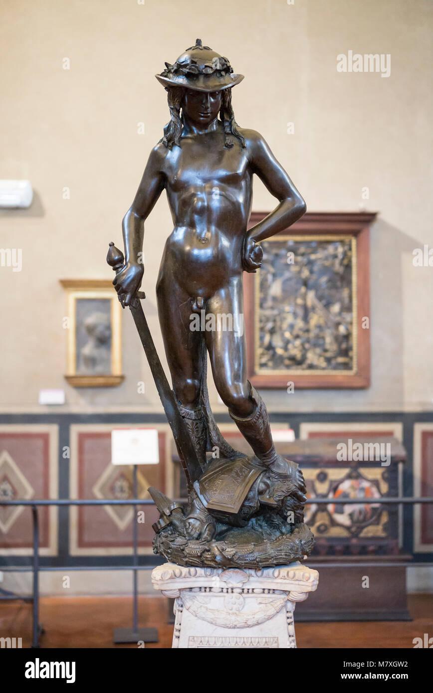 Florence. L'Italie. Statue en bronze de David (ca.1430-1440) par Donatello, Museo Nazionale del Bargello. (Musée Photo Stock
