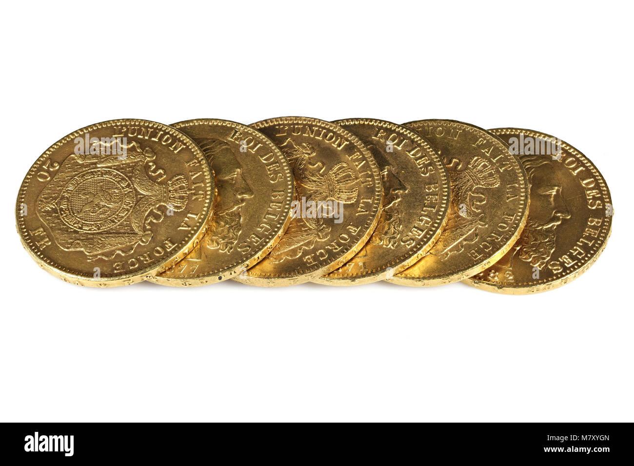Pieces D Or De 20 Francs Belge Isole Sur Fond Blanc Banque D Images