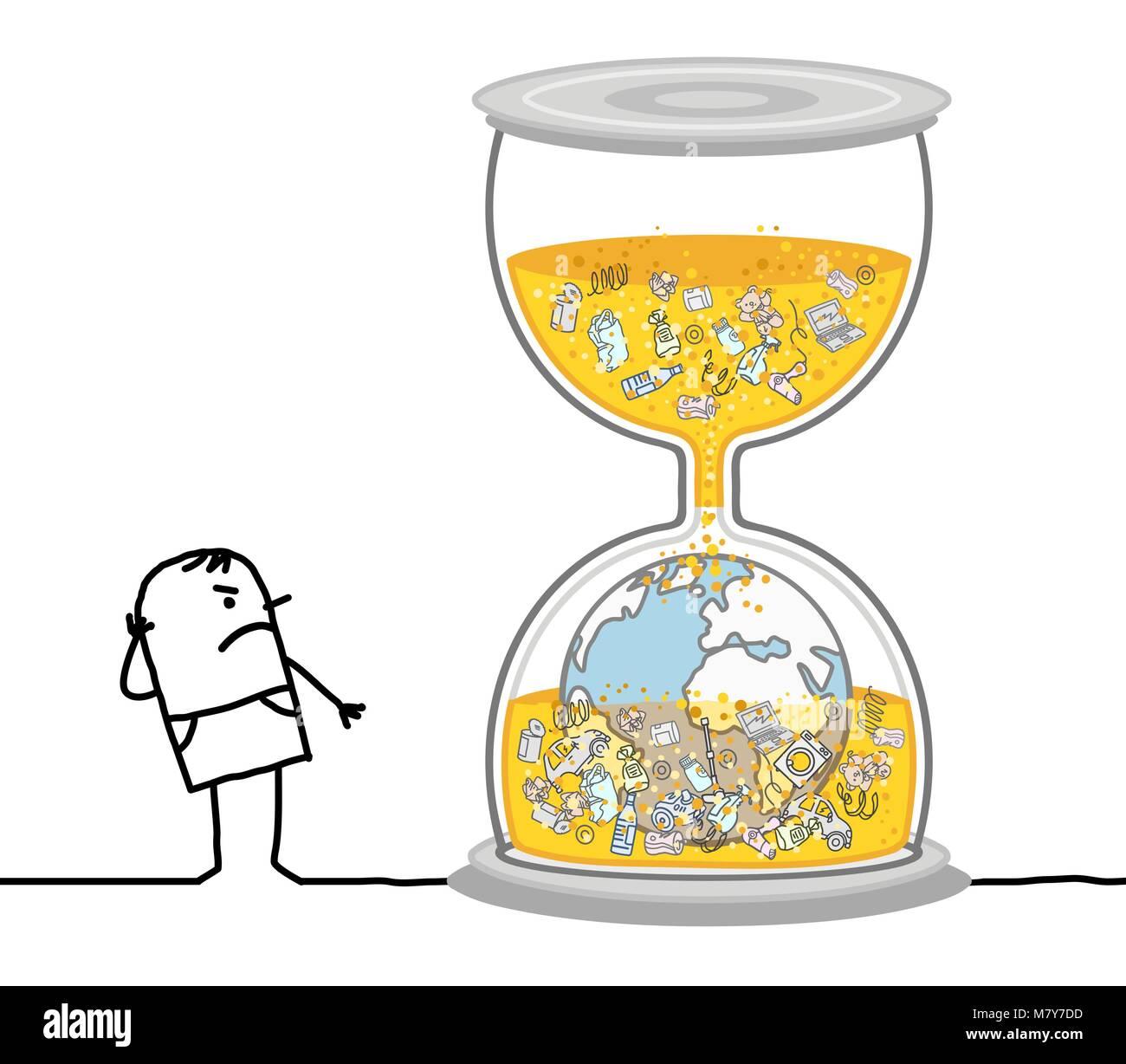 Homme Qui Regarde Un Dessin Animé Terre Polluée Dans Hourglass