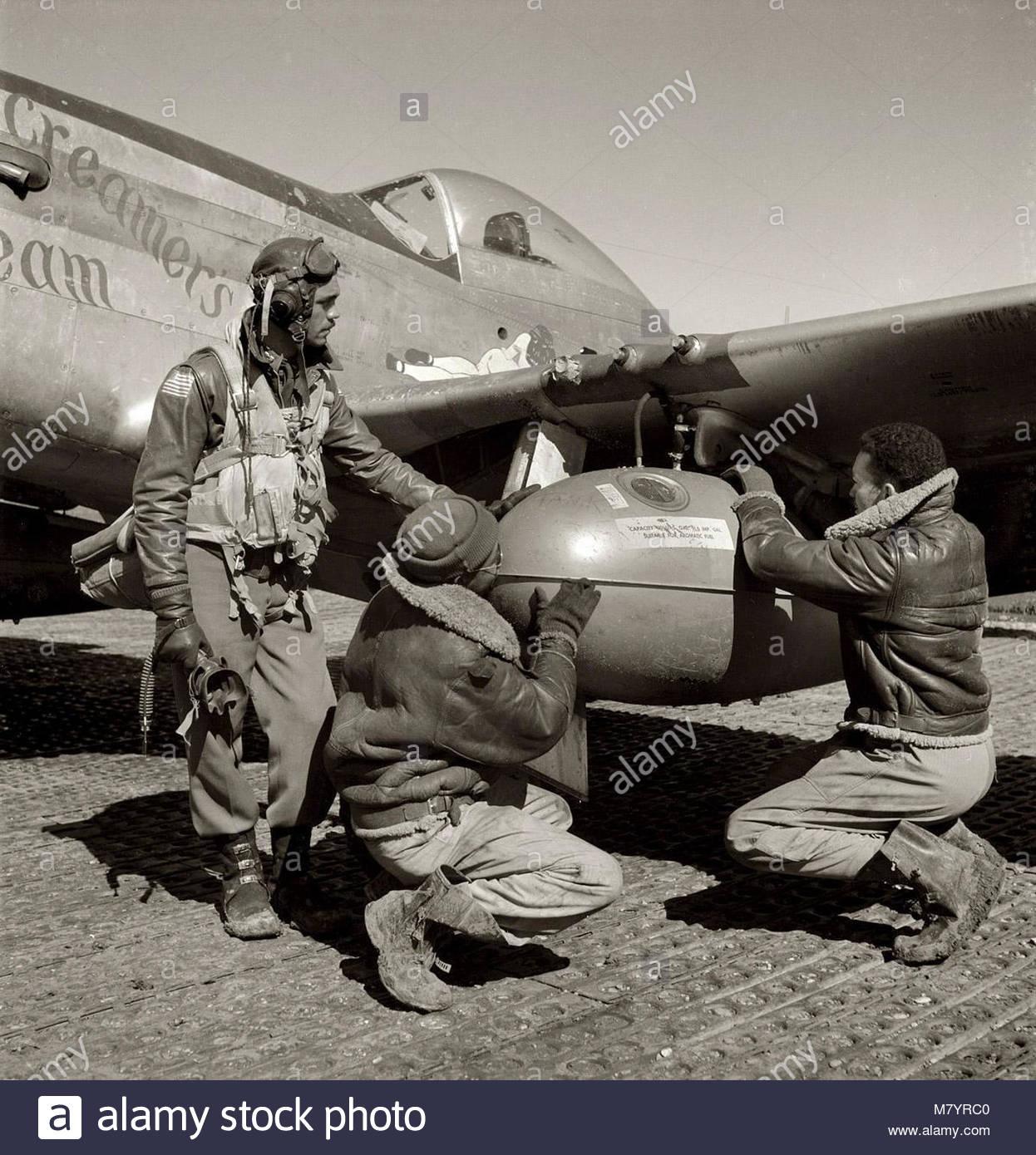Pilotes Tuskegee Edward C Gleed avec le North American P-51. Photo Stock
