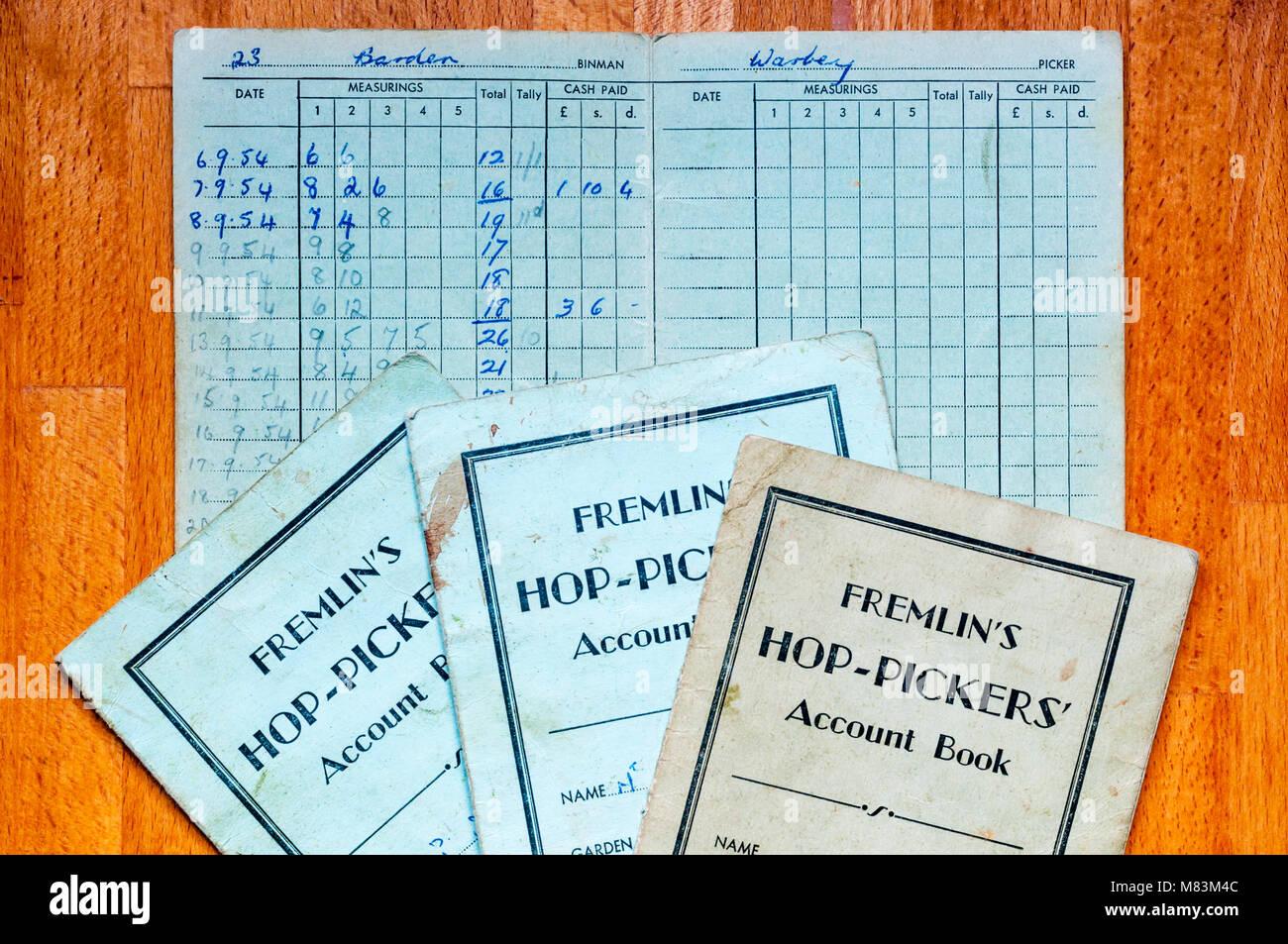 L'Hop-Pickers Fremlin Livre de comptes de 1950. Utilisé pour conserver un enregistrement de la quantité Photo Stock