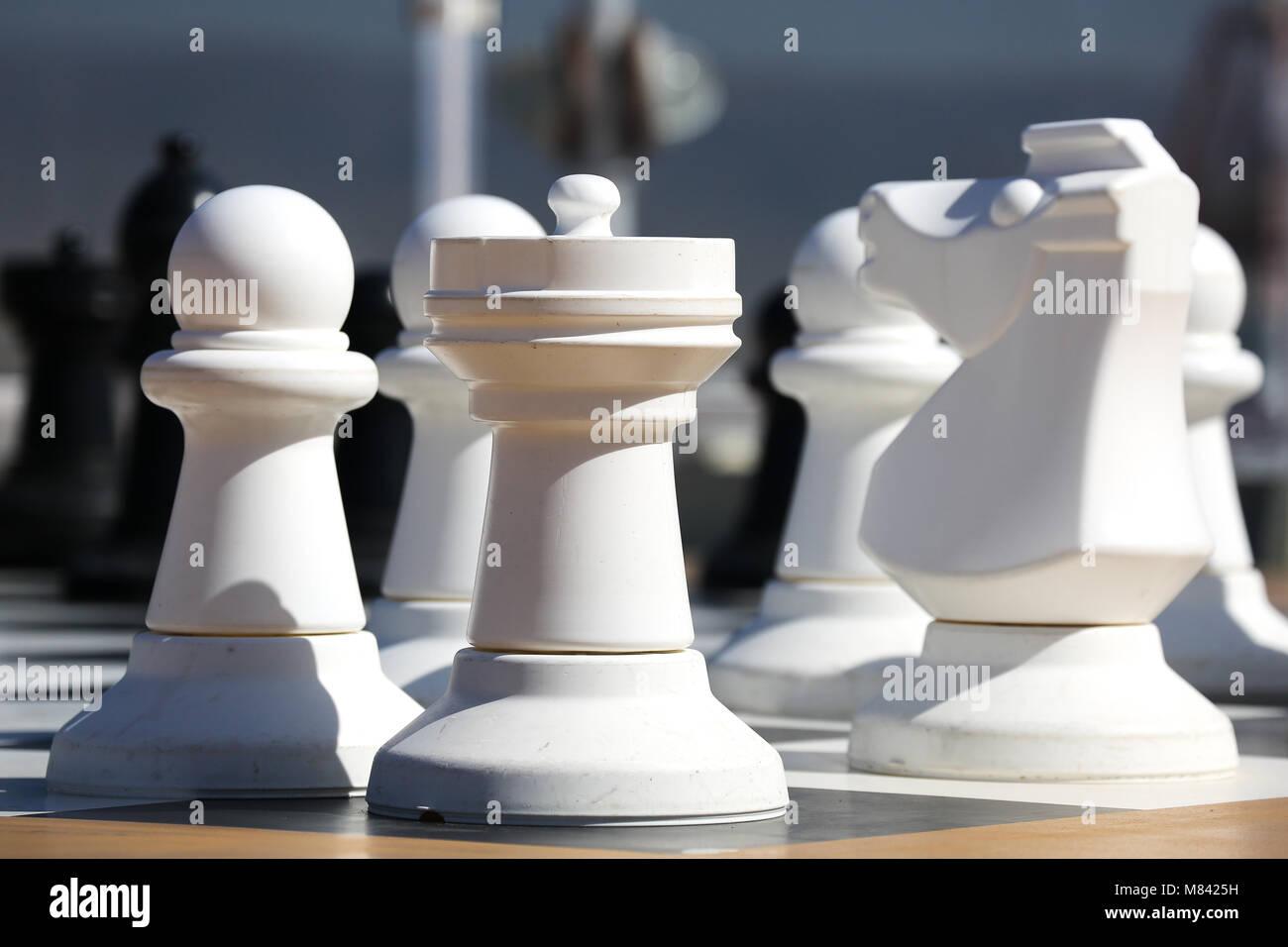 Pièces des échecs sur la reine Elizabeth. Cunard Liner Photo Stock