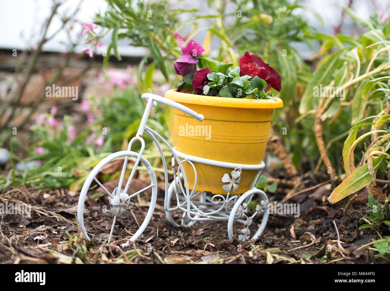 Petit vélo blanc avec pot en plastique jaune et rouge fleurs ...