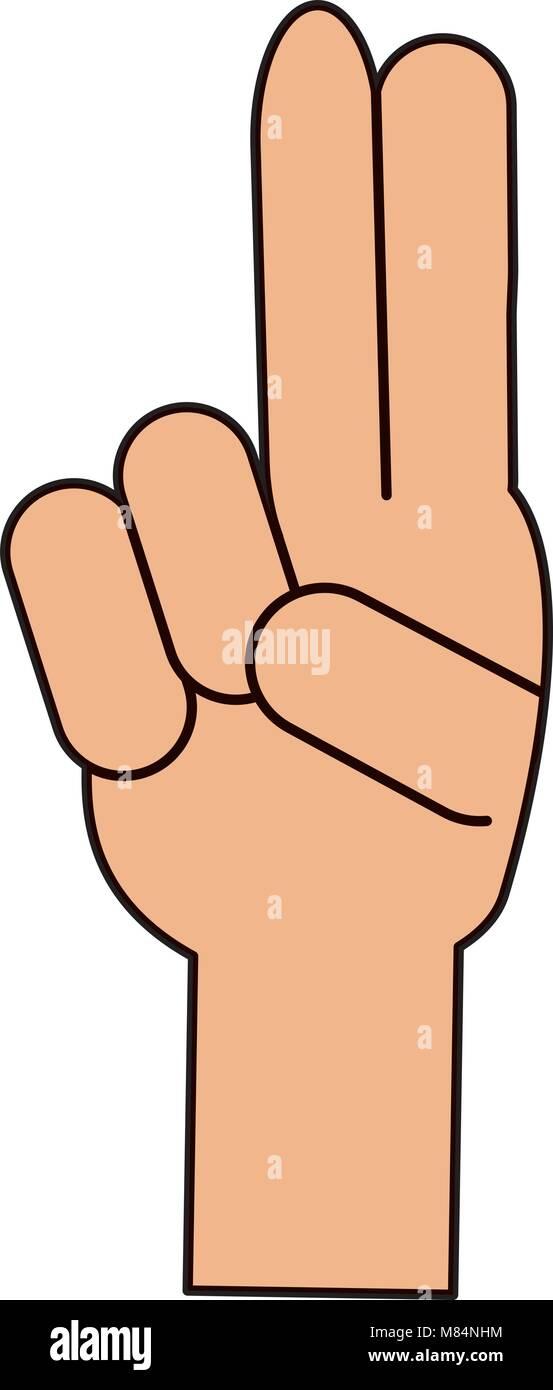 Main avec deux doigts vers le haut sur fond blanc, vector illustration Illustration de Vecteur