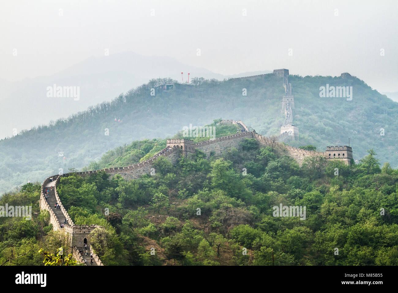 La Chine, Grande Muraille de Chine, Mutianyu Photo Stock