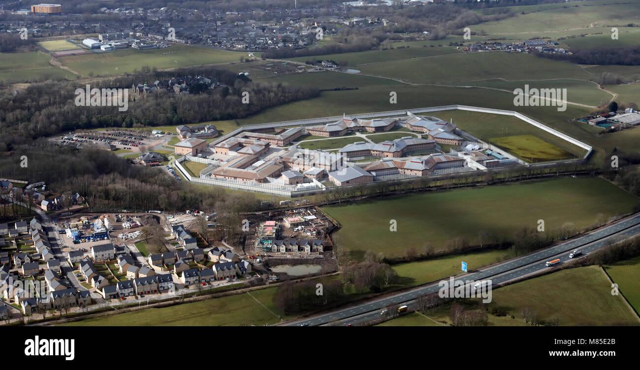Vue aérienne de Lancaster HMP de fermes près de la M6 à Lancaster, UK Photo Stock