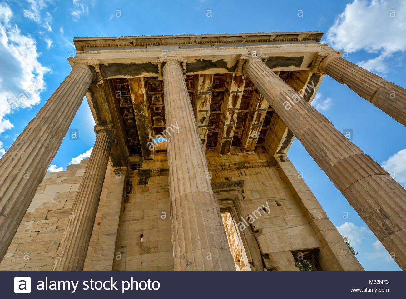 L'Erechtheion, un ancien temple grec sur le côté nord de l'Acropole, Athènes, Grèce Photo Stock