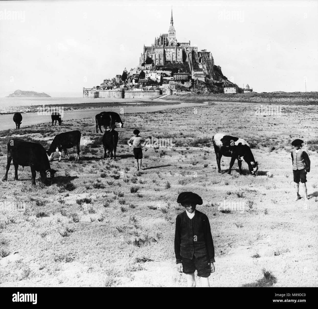 Mt St Michel, France, 1935 Banque D'Images