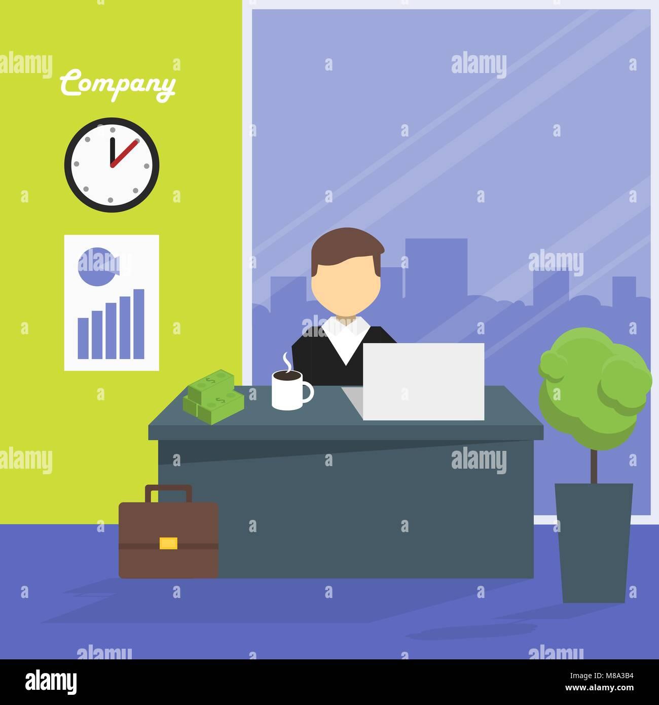 Gestionnaire du lieu de travail, vector illustration Illustration de Vecteur