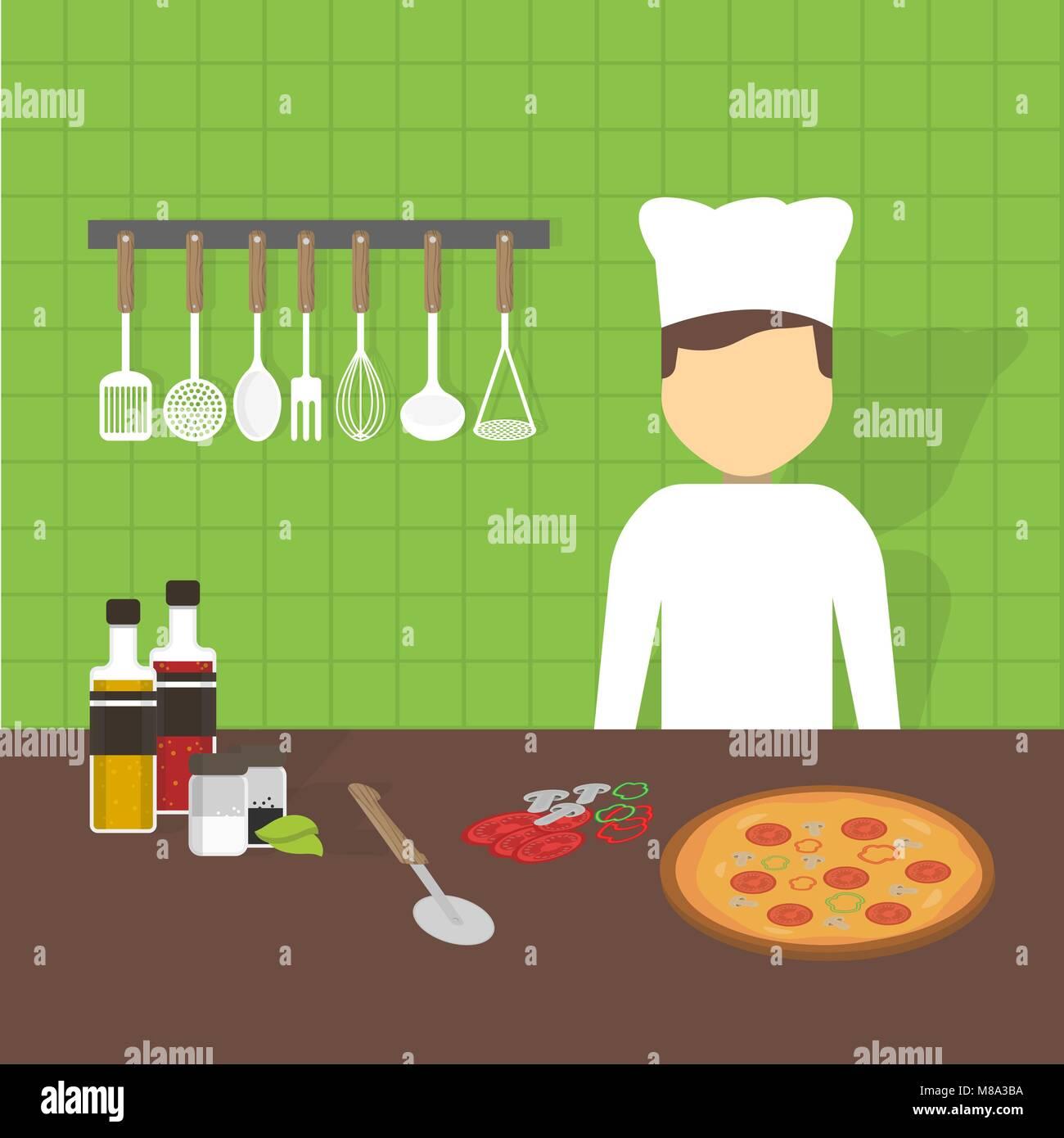 Cuisinier au travail, vector illustration Illustration de Vecteur