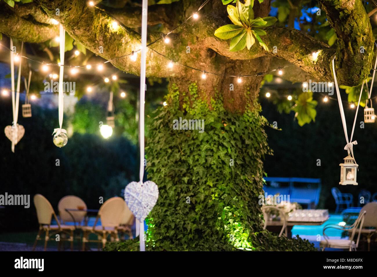 Villa avec grand jardin magnolia arbre avec de nombreuses lanternes ...