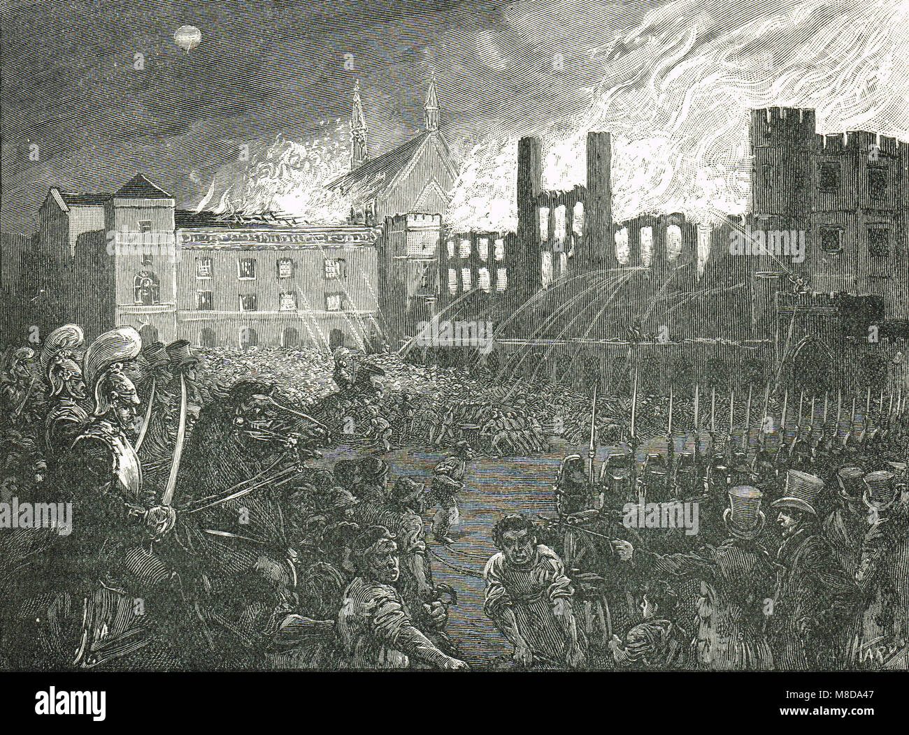 Palais de Westminster en feu, l'incendie du Parlement, le 16 octobre 1834 Photo Stock
