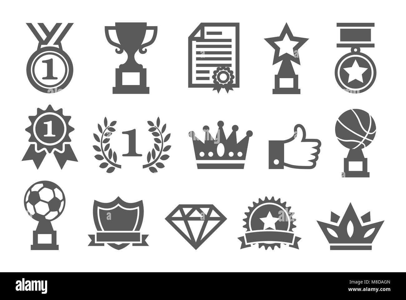 Awards icons set Photo Stock