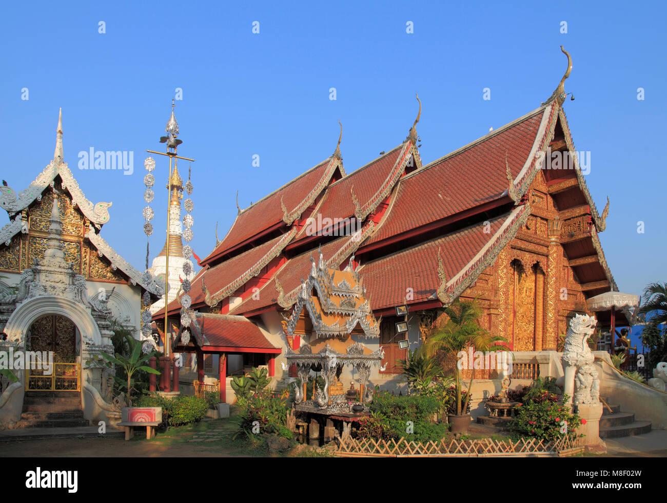 La Thaïlande, Chiang Mai, le Wat Mahawan, temple bouddhiste, Photo Stock