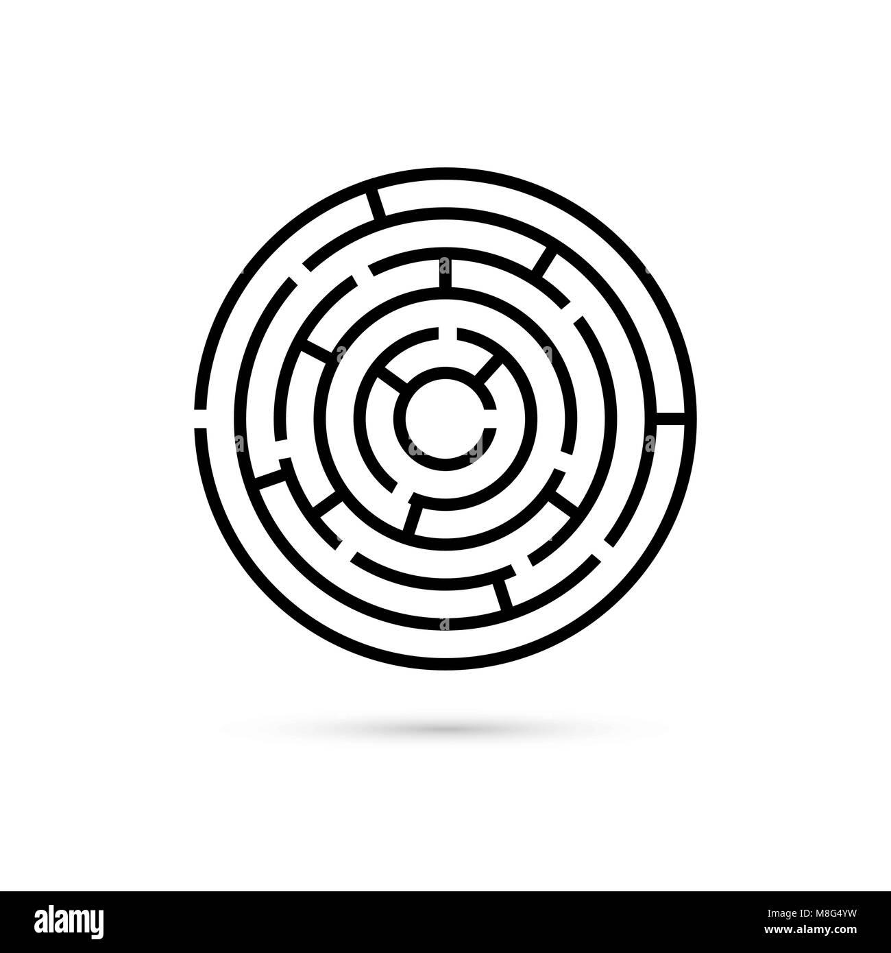 Labyrinthe circulaire avec moyen de centre. Solution d'affaires de la confusion et de concept. Modèle plat. Vector Illustration de Vecteur