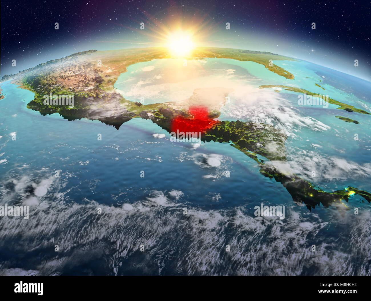 1628325f9d Vue Satellite du Guatemala a souligné en rouge sur la planète Terre avec  des nuages au lever du soleil. 3D illustration. Éléments de cette image  fournie par ...