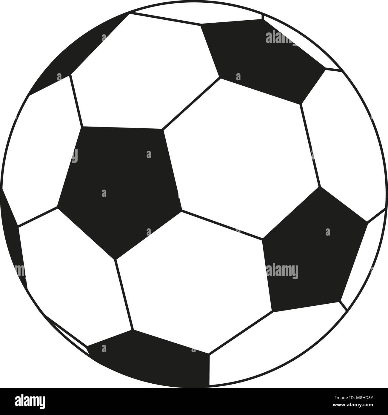 Les Dessins Au Trait Noir Et Blanc Ballon De Soccer Icône Vecteurs
