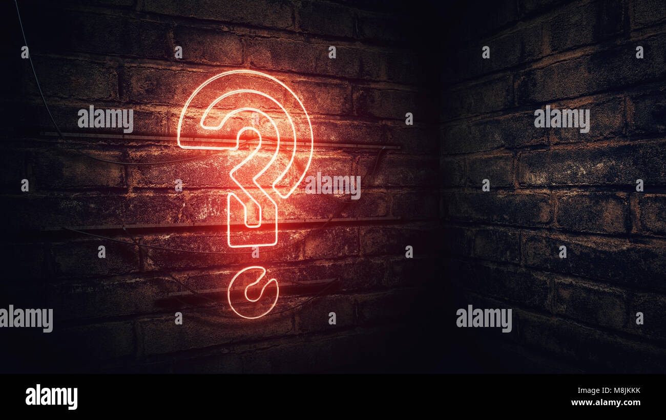 Point d'interrogation en néon sur mur de brique, rendu 3d illustration conceptuelle pour test, examen et Photo Stock