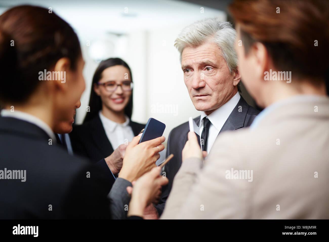 Conférence de presse Photo Stock
