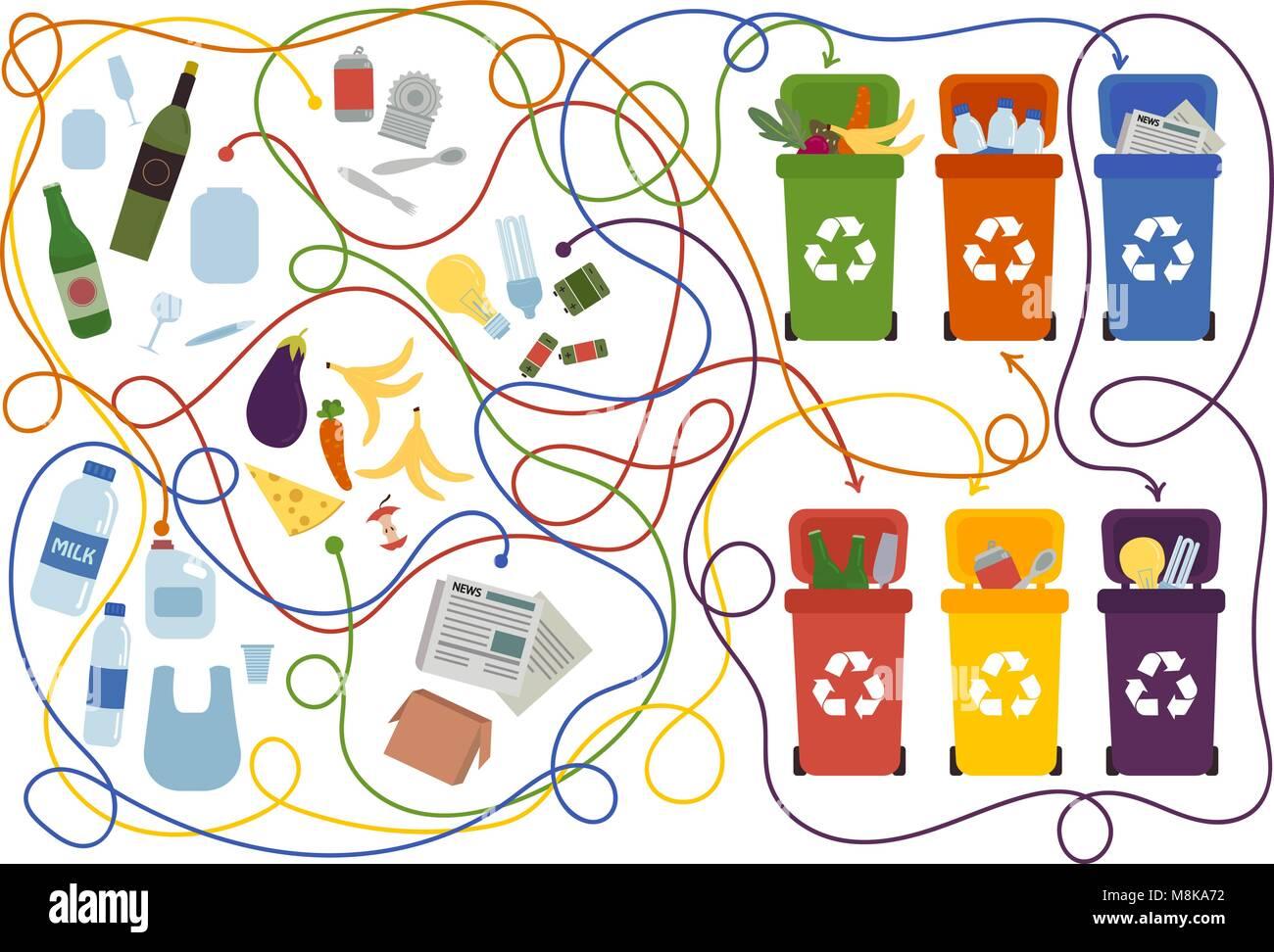 Labyrinthe de recyclage pour les enfants avec une solution Photo Stock
