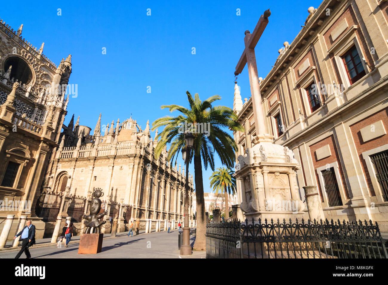 Séville, Andalousie, Espagne: la liste de l'UNESCO Cathédrale de Séville, le plus grand Photo Stock