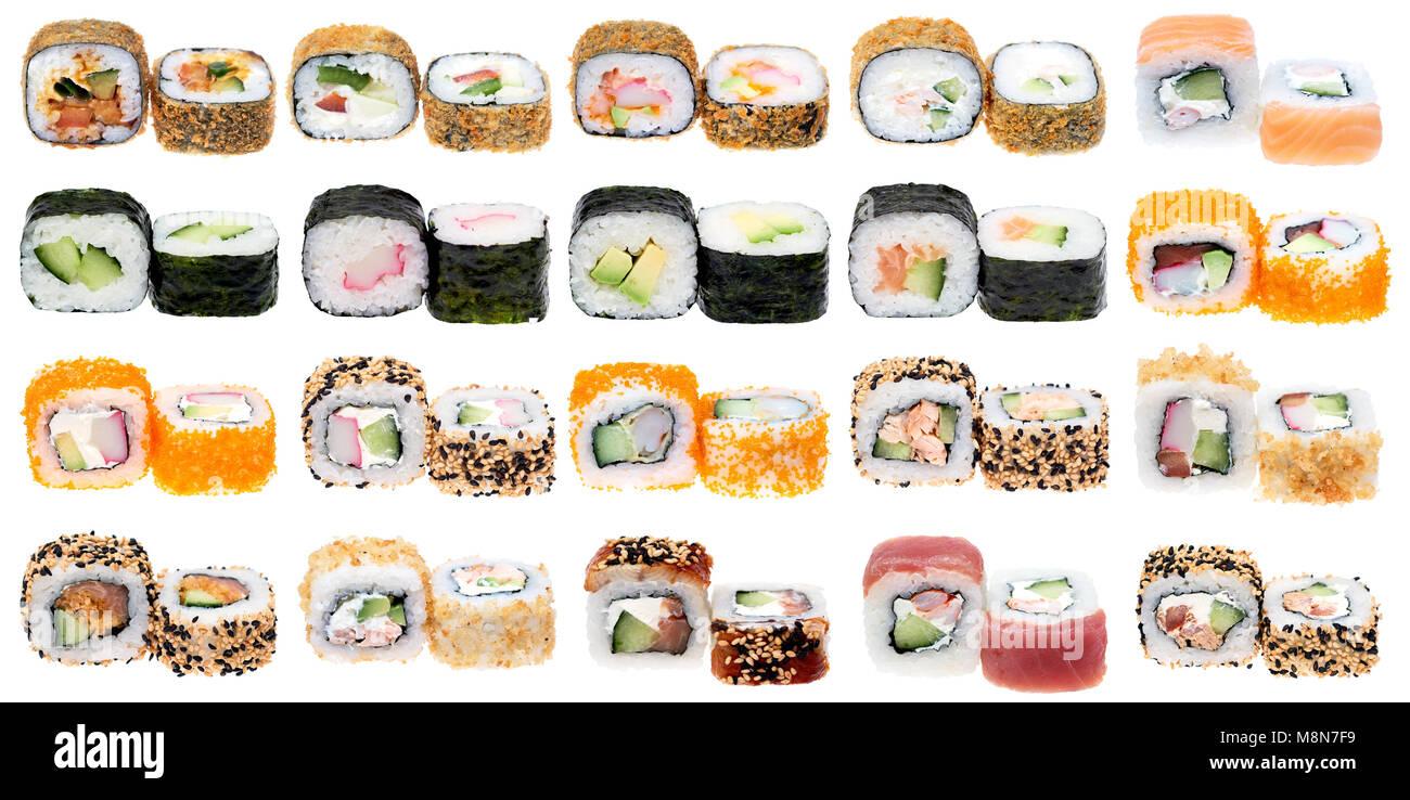 Différents types de sushi roll isolé sur fond blanc. Cuisiune japonais Banque D'Images