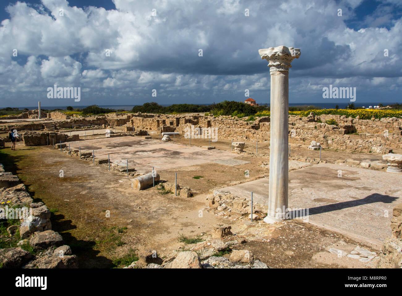 Site Archeoligical au Agios Georgious, district de Paphos, Chypre, Méditerranéenne Banque D'Images