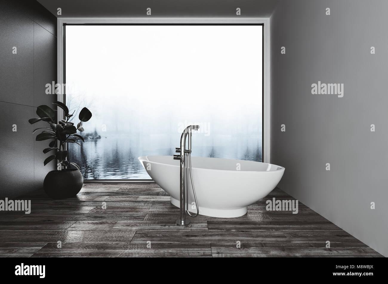 En forme de bateau moderne baignoire dans une salle de bains corner ...