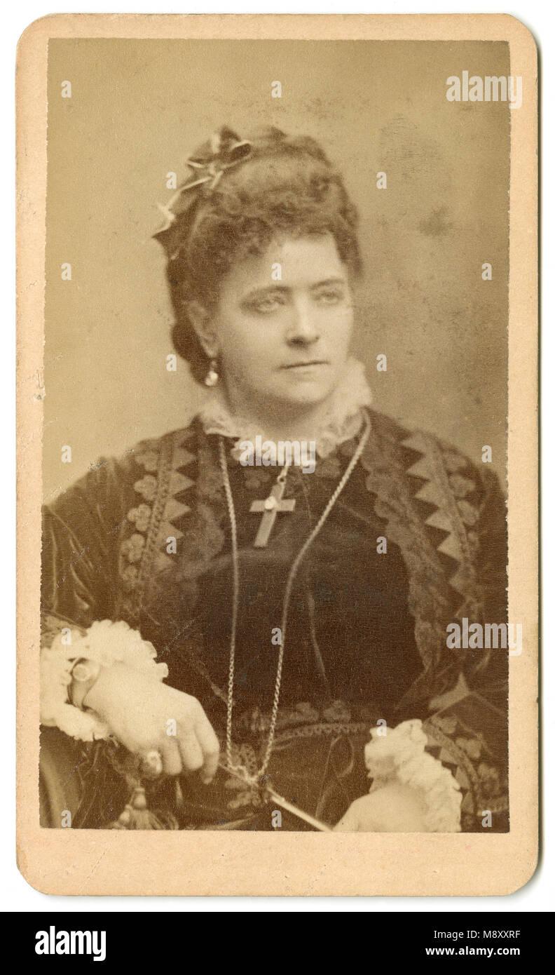 Meubles Anciens C1860 Carte De Visite Fanny Janauschek Francesca 1829 1904 Tait Une Actrice Amricaine Dorigine Tchque Qui A Travaill