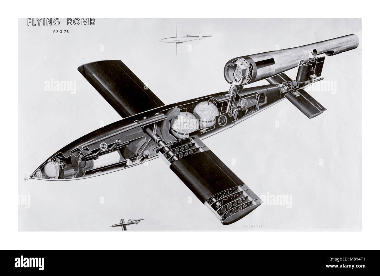 V-1 BUZZ BOMB WW2 Schéma en coupe Historique Plan d'encombrement d'un nazi allemand bombe volante V Photo Stock