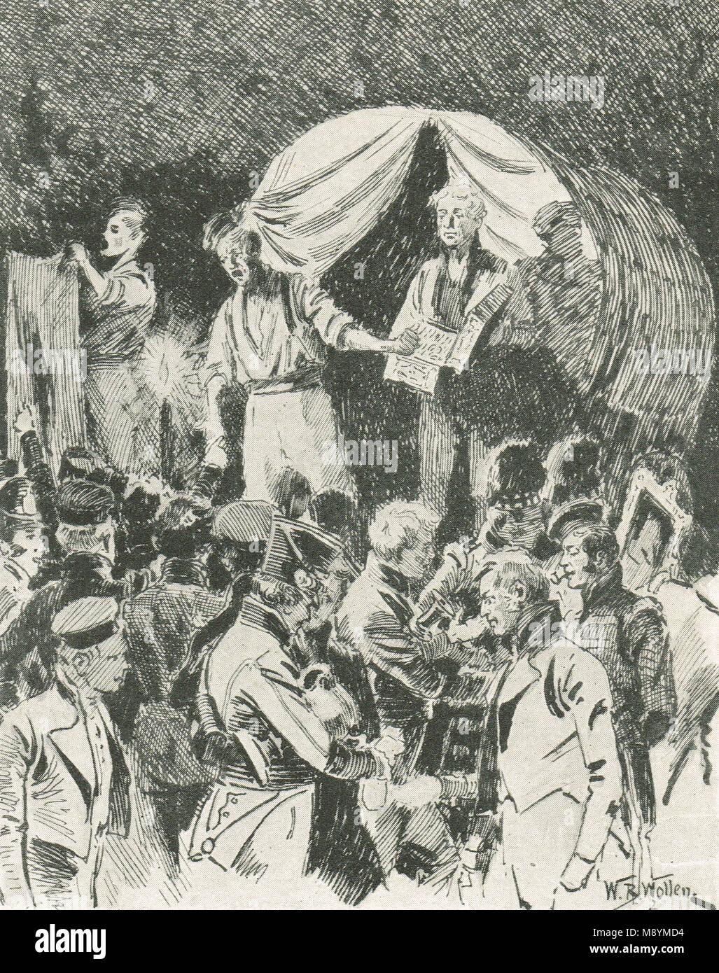 Vente aux enchères de pillage de wagons français abandonnés après la Bataille de Vitoria, 21 Photo Stock