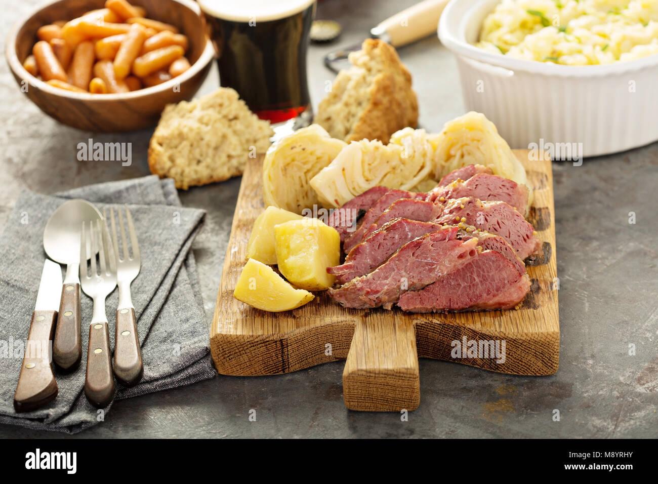 Le corned-beef et le chou Photo Stock