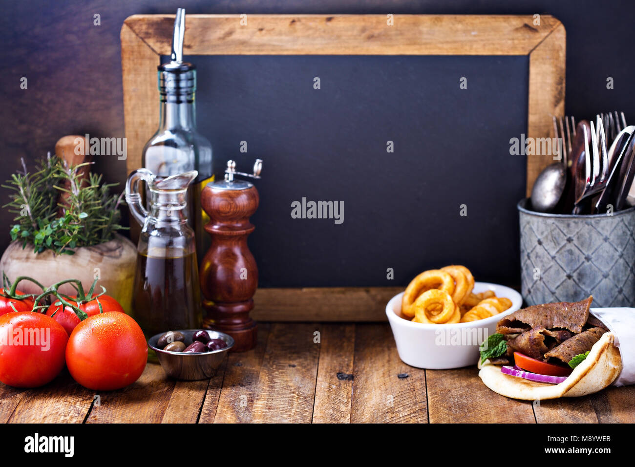 Concept alimentaire grec background Photo Stock