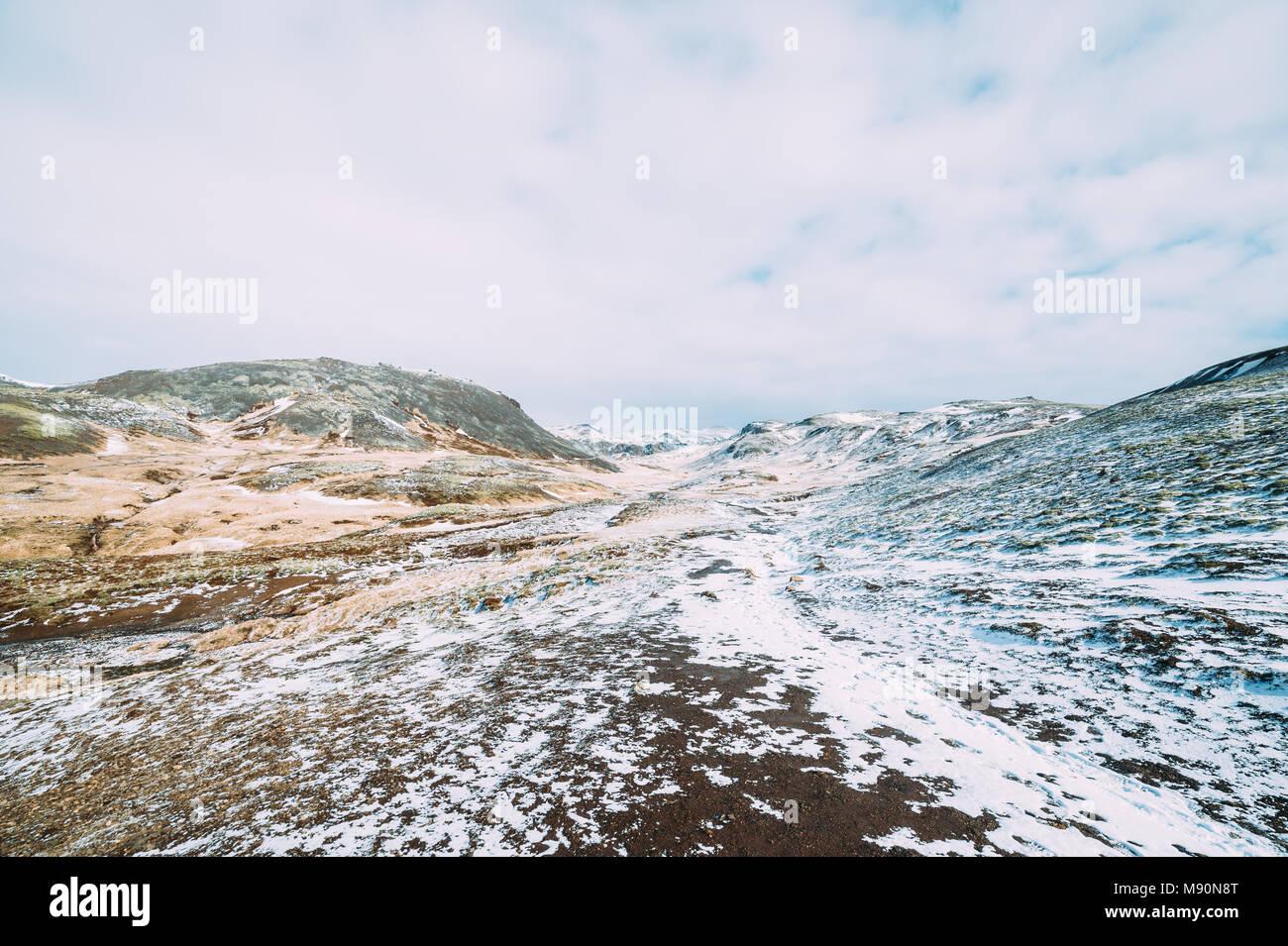 La neige sur les plaines d'Islande Photo Stock