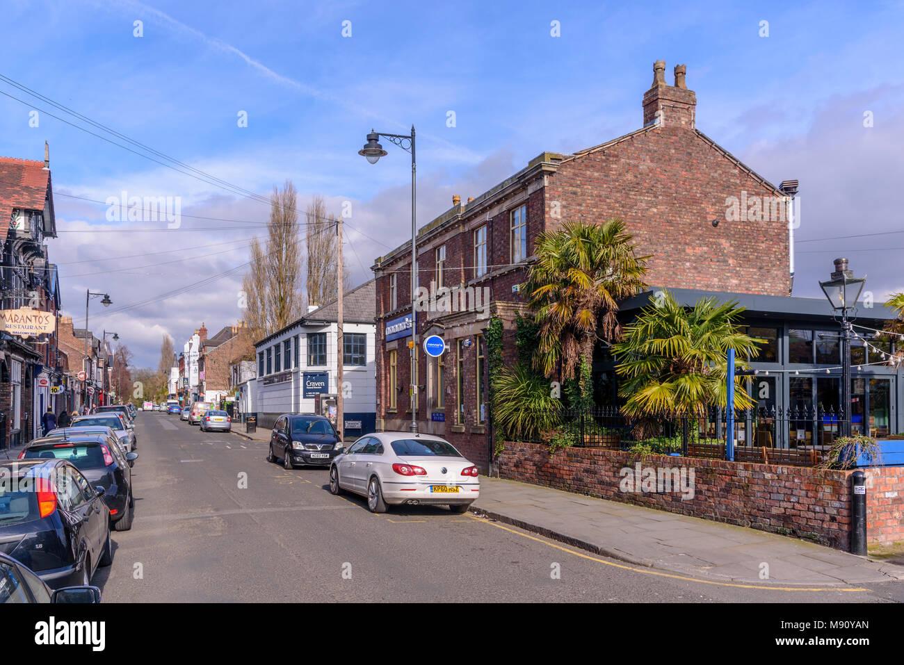 Lark Lane restaurant trimestre Liverpool. Photo Stock