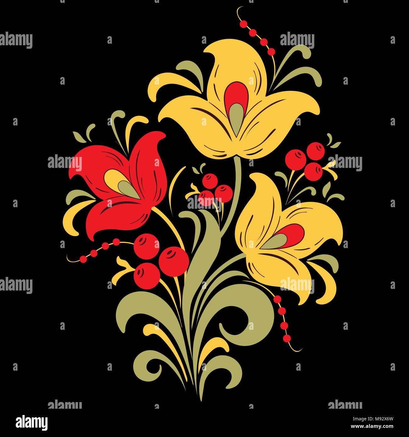 Abstract Fleur Stylisée Illustration Vectorielle Bouquet