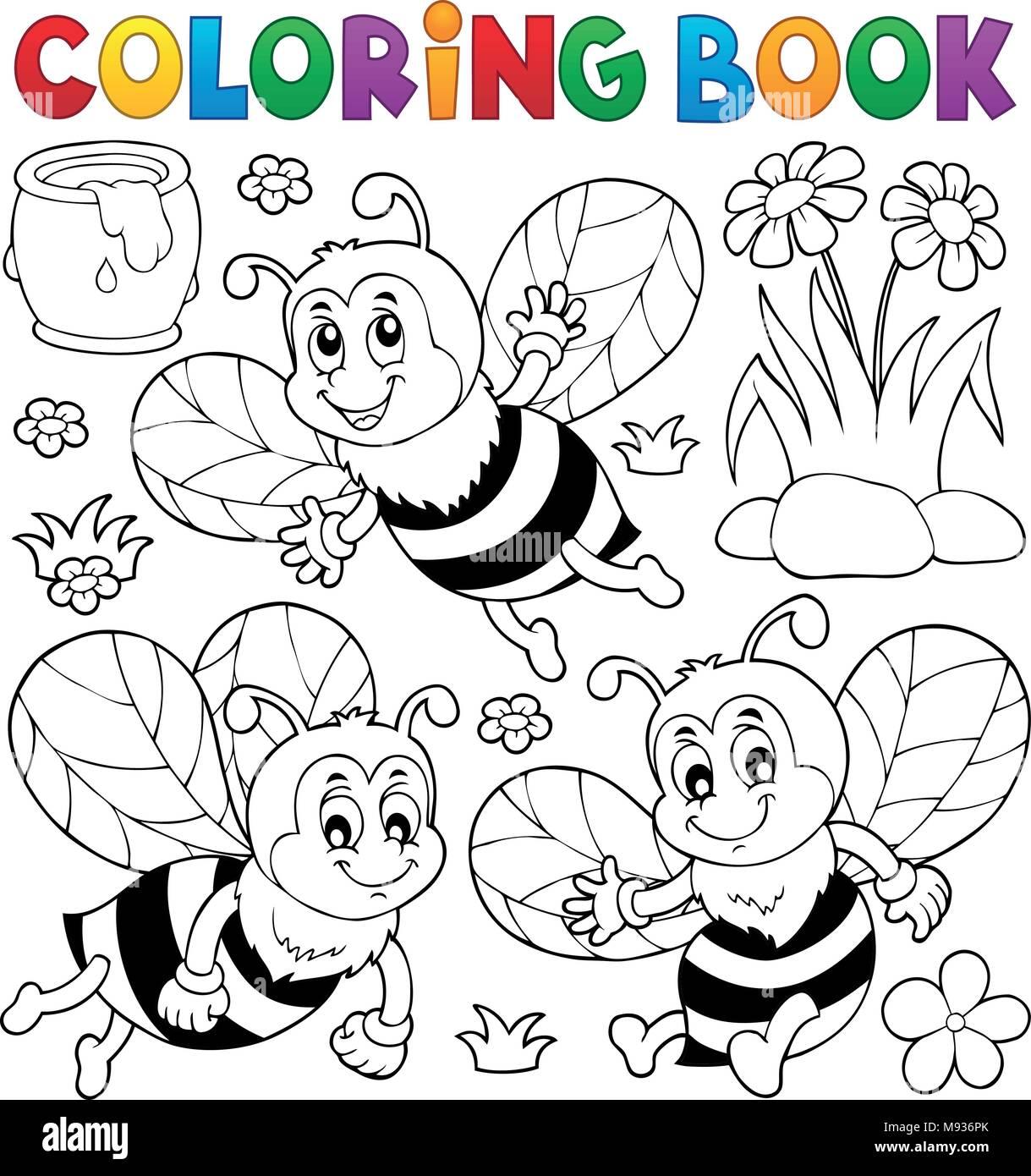 Livre De Coloriage Abeilles Heureux Theme 1 Eps10 Vector