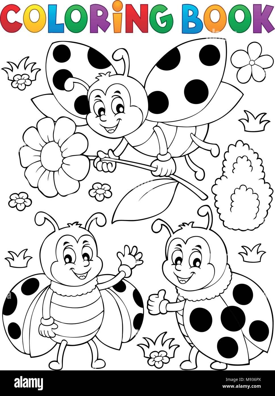Coloriage Coccinelle.Livre De Coloriage Coccinelle Theme 7 Eps10 Vector Illustration