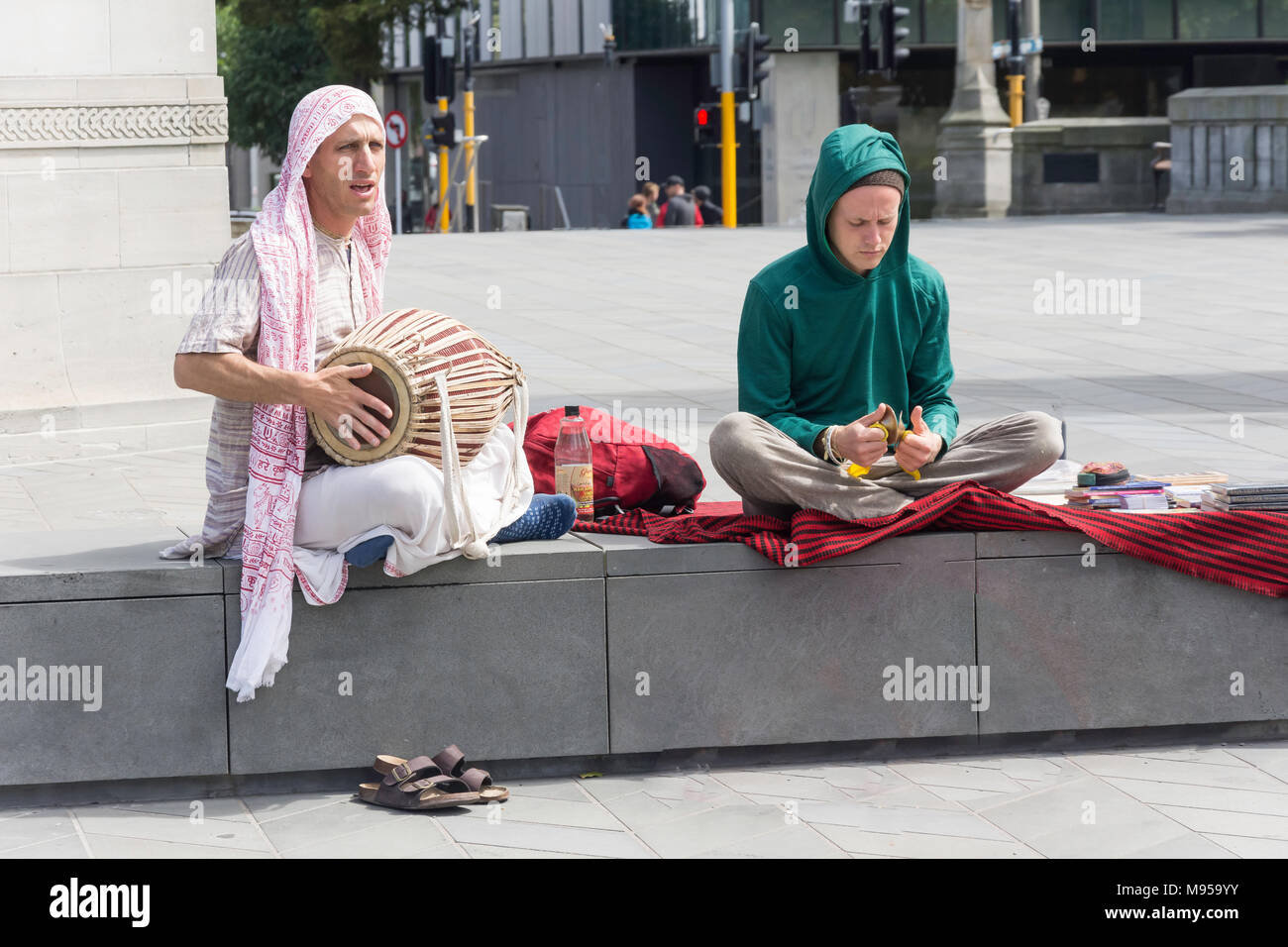 Adeptes Hare Krishna, Oxford Terrace, Christchurch, Canterbury, Nouvelle-Zélande Banque D'Images