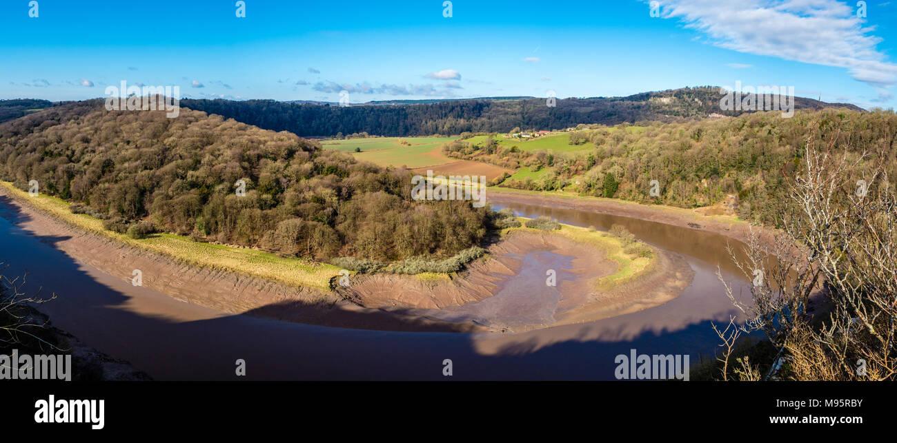 Panorama d'hiver d'Wintours Leap dans la vallée de la Wye près de Chepstow sur la frontière galloise UK Banque D'Images