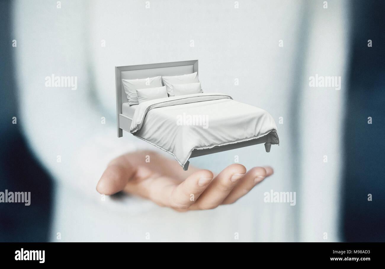 Chambres sur les mains, concept de rêve ou de sommeil Photo Stock