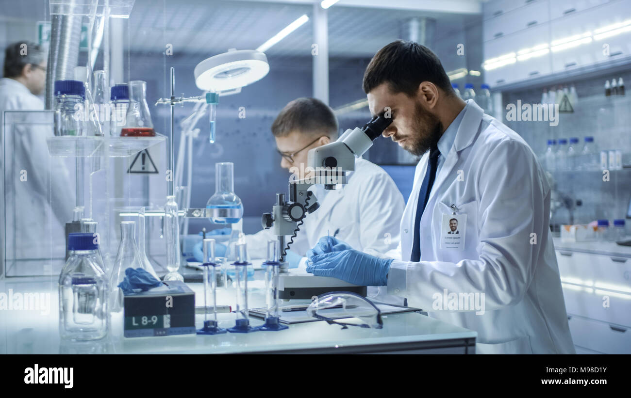 Dans un laboratoire moderne Deux scientifiques pour mener des expériences. Chercheur scientifique en chef Règle modèle dans une boîte de Pétri et regarde sur elle en microscope. Photo Stock