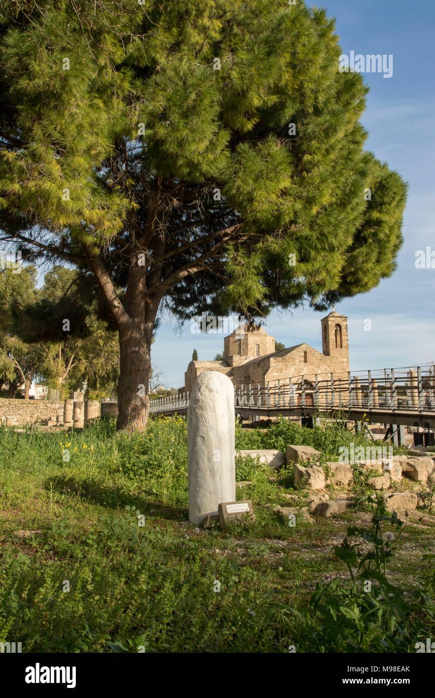 St Paul's pilier Kato Pafos, lieu saint religieux méditerranéens à Paphos, Chypre, Europe Photo Stock