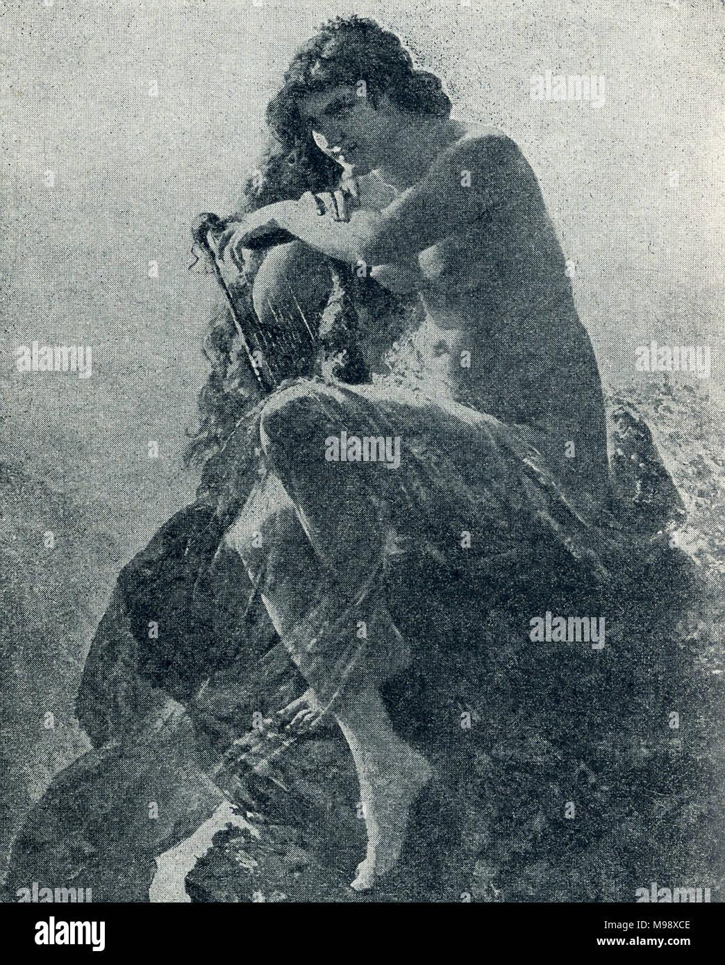 """Cette illustration date d'environ 1989. Il montre la légendaire Lorelei. La falaise en Allemagne est de 433 pieds de haut et surplombe narrows dangereuses du Rhin, à mi-chemin entre Coblence et Bingen. Le poème de Heine Die Lorelei raconte la légende d'une fée qui vivait ici et saiors attirés à leur mort par son chant. Une autre légende place l'Nibelungs"""" hoard ici. Photo Stock"""
