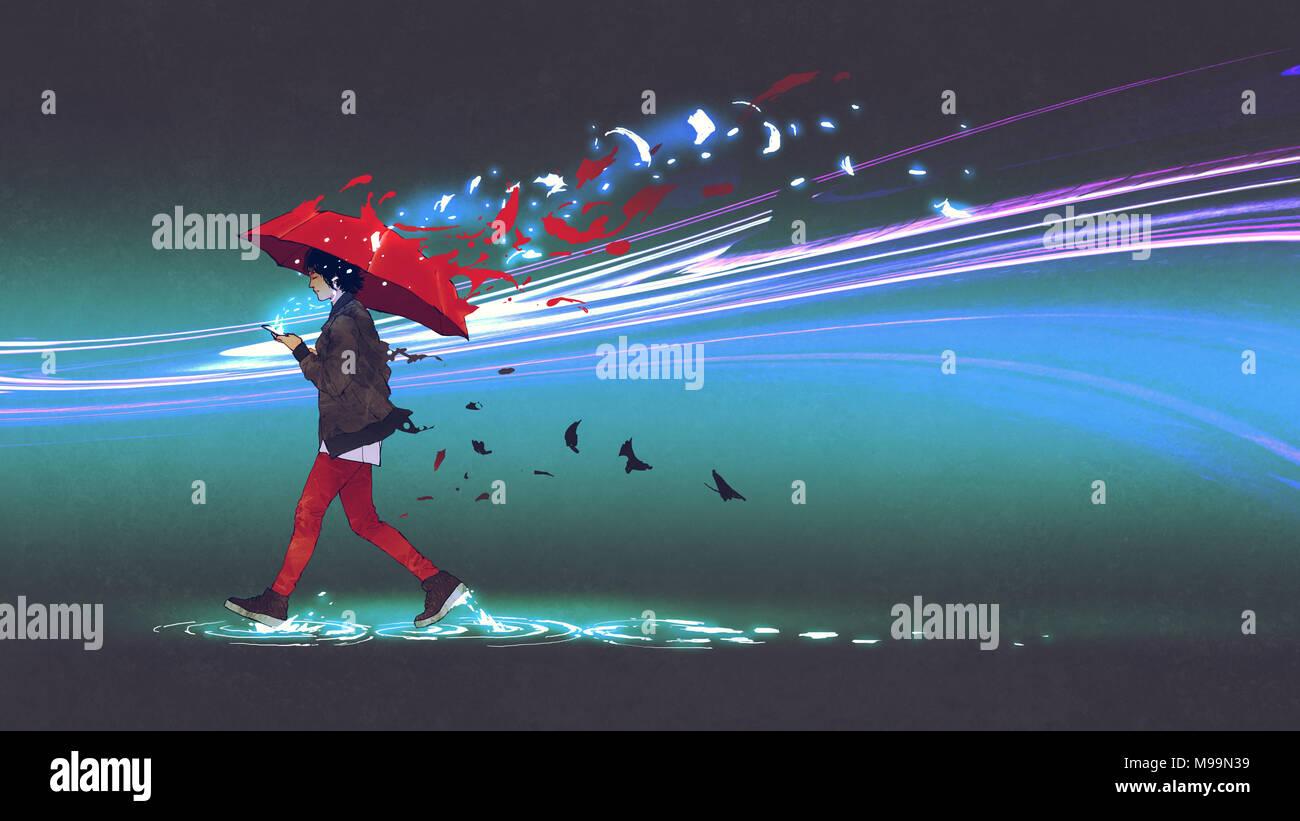 Femme avec un parapluie rouge marche sur fond sombre avec des particules dispersées, art numérique, peinture style illustration Photo Stock