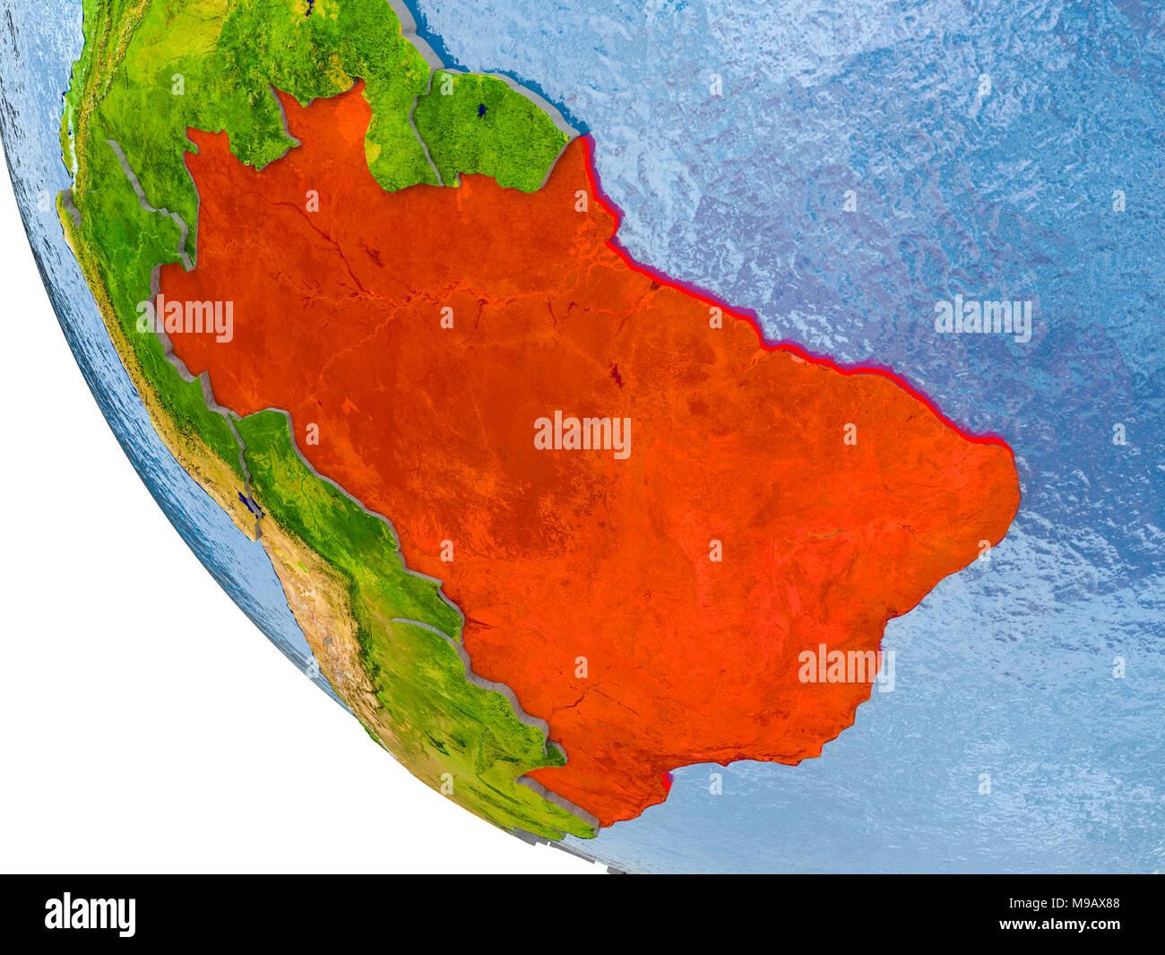 Carte Bresil Relief.Carte Du Bresil En Rouge Sur Un Globe Avec Du Vrai Surface De La